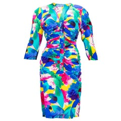 90s Thierry Mugler Tropical Floral Print Silk Dress