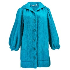 80s YSL Turquoise Blue Mohair  Coat
