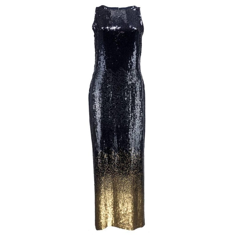 90s Bill Blass Fully Sequined Ombre Gown 1