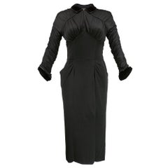 50s Ceil Chapman Black Rayon Jersey Wiggle Dress
