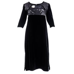 80s Courreges Black Velvet and Sequin Cocktail Dress