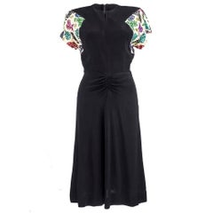 40s Black Rayon Crepe Cocktail Dress with Rainbow Sequin Sleeves