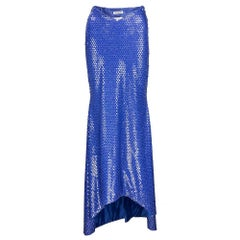 80s Patrick Kelly Blue Sequin Mermaid Evening Skirt with Mermaid Train