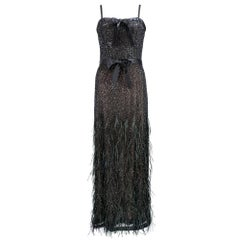 2000s Douglas Hannant Black Beaded Evening Gown with Feather Trim