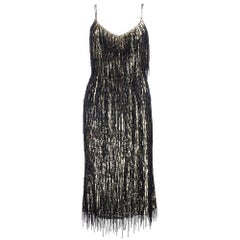 2000s Escada Gold Sequin Black Fringed Sheath