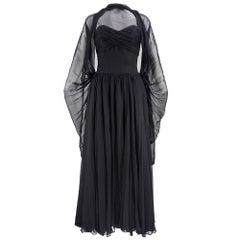 50s Frank Starr Black Silk Chiffon Glamour Gown