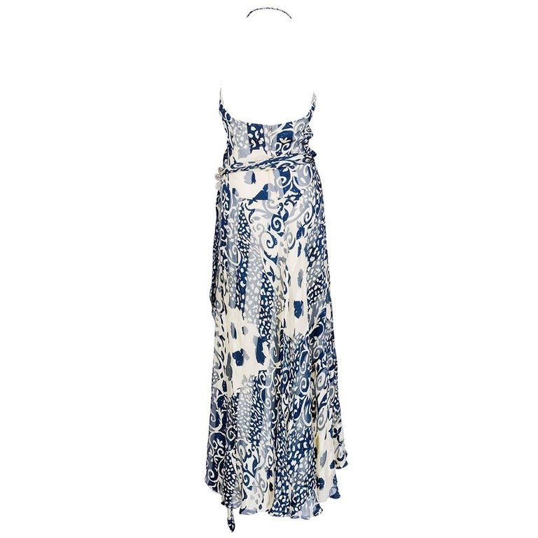 Naeem Khan  Blue and White Silk Jacquard Floral Halter Gown 3