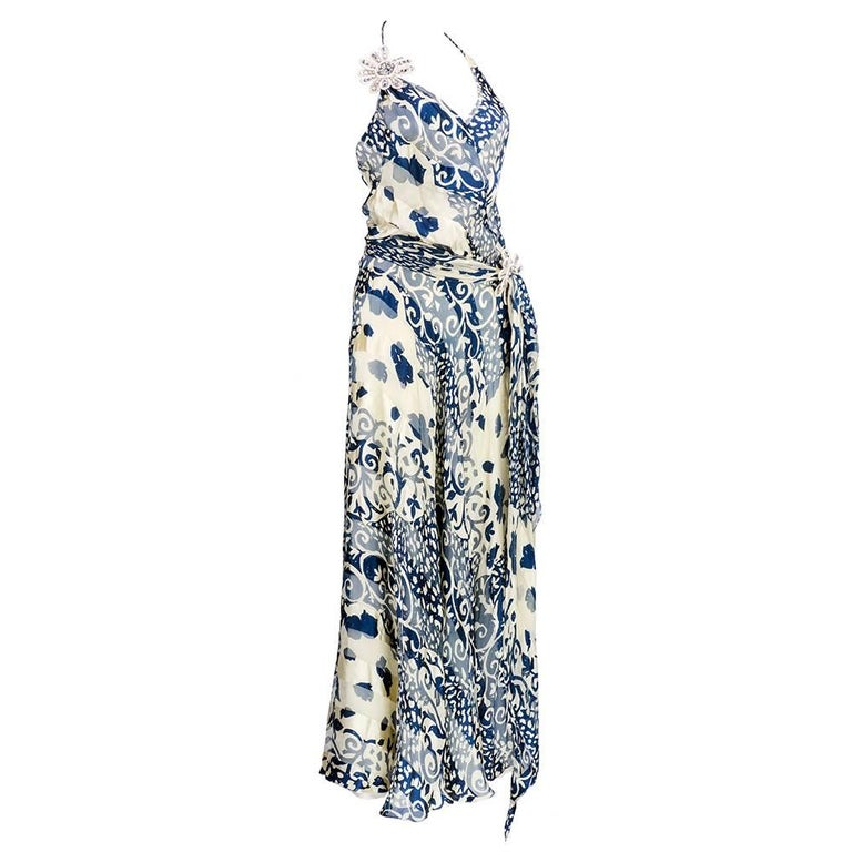 Naeem Khan  Blue and White Silk Jacquard Floral Halter Gown 2