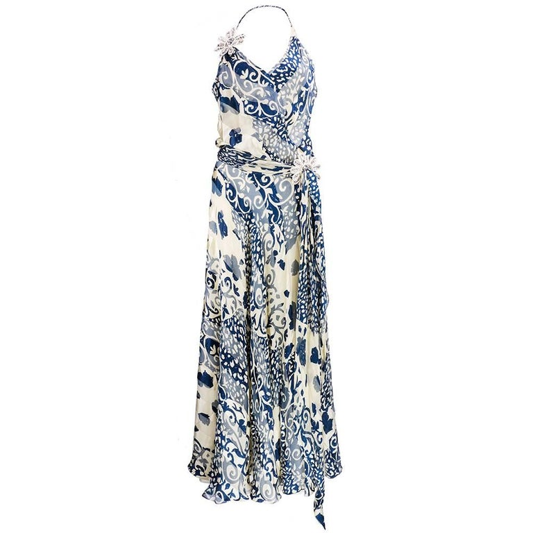 Naeem Khan  Blue and White Silk Jacquard Floral Halter Gown 1