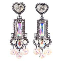 Contemporary Lawrence Vrba Massive Rhinestone Chandelier Earrings