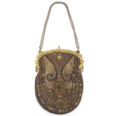 Gold Embroidered Purse with Multicolor Rhinestones, 1920s