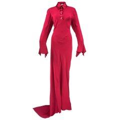 90s Pearce Fionda Red Crepe Bias Cut Maxi Dress
