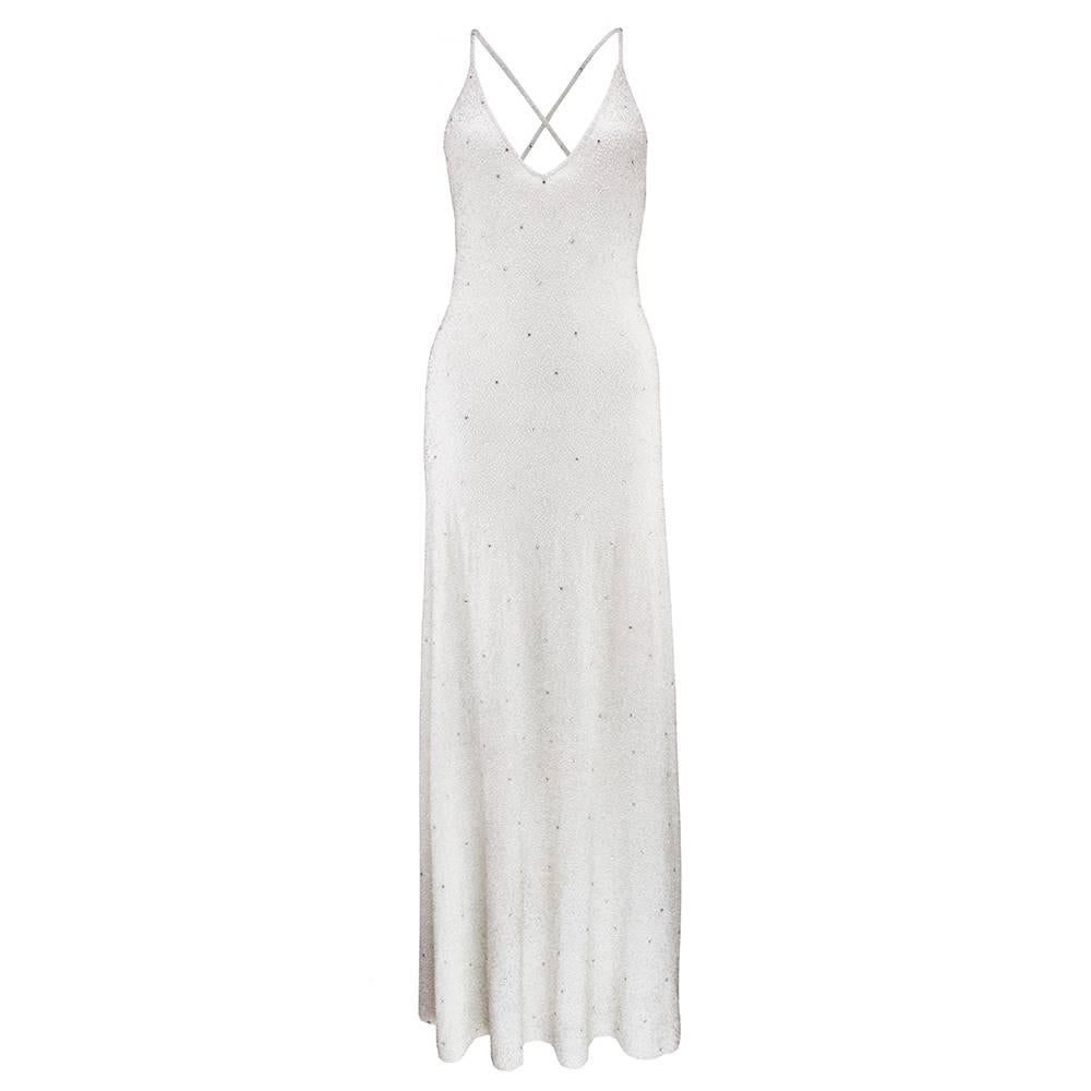 90s Ralph Lauren Purple Label White Beaded Cashmere Gown For Sale at ...