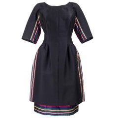 60s Sara Fredericks Interesting Black Dress with Multi-Color Stripes