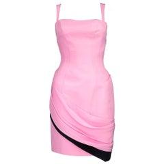 90s Thierry Mugler Bubblegum Pink Silk Mini with Chiffon Swag