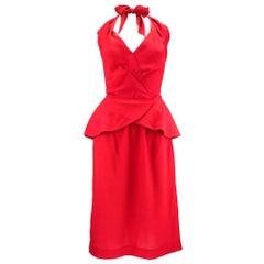 80s Slinky Chloe Red Silk Halter Dress