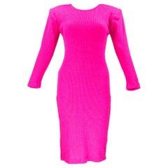 80s Patrick Kelly Magenta Ribbed Knit Body Con Scoop Back Dress