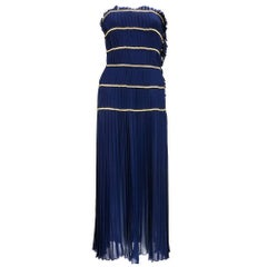 Chanel Nautical Blue Chiffon Strapless Gown with Chain Detail