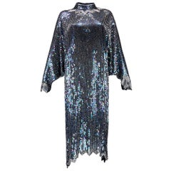 Halston 1980s Iridescent Sequin Evening Dress with Asymmetric Hem