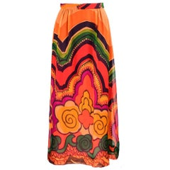 60s California Designer Ruth Matthews Psychedelic Maxi Skirt and Matching Scarf