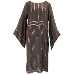 Early 20s Brown Silk Tunic Dress with Intricate Crochet Work