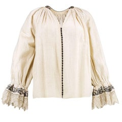 1930s Eastern European Beautifully Embroidered Blouse with Delicate Crochet