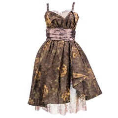 90s Christian Lacroix Silk Jacquard & Lamé Lace Party Dress