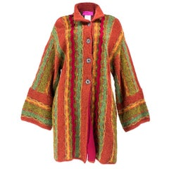 90s Christian Lacroix Festive Mixed Media Knit Cardigan