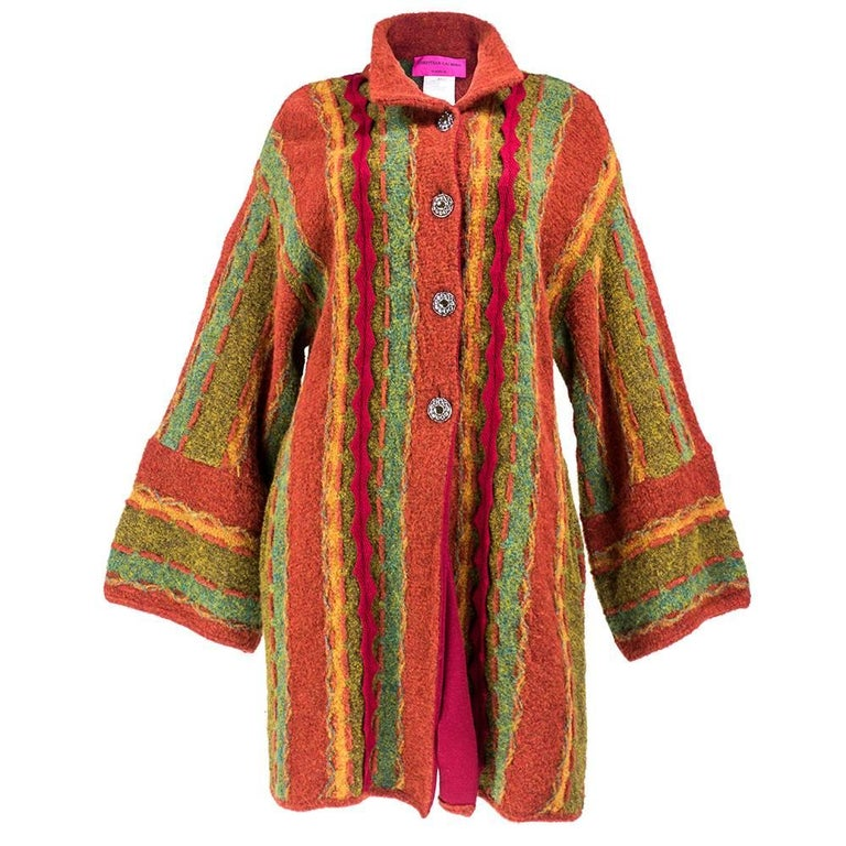 90s Christian Lacroix Festive Mixed Media Knit Cardigan For Sale