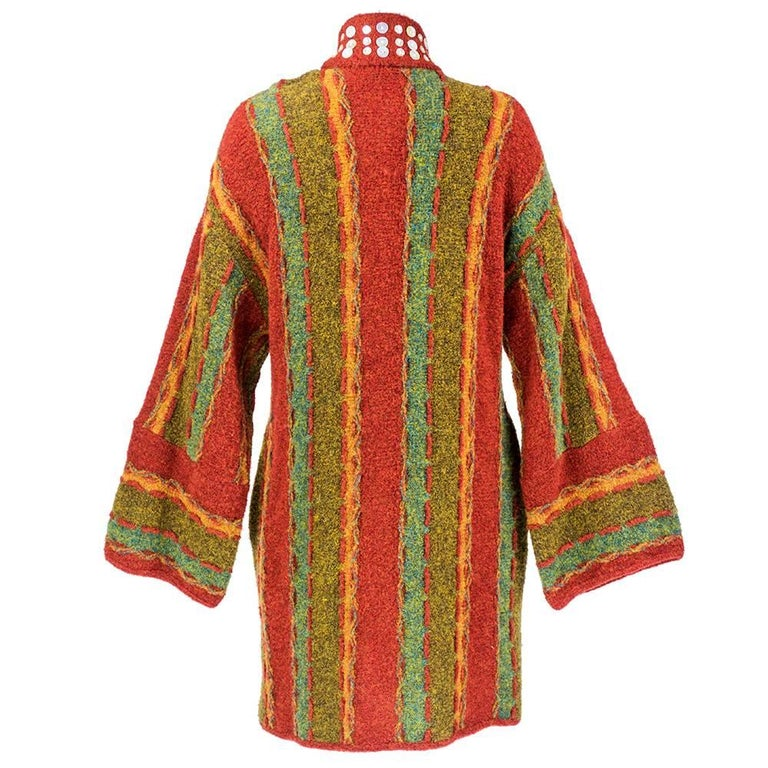 Brown 90s Christian Lacroix Festive Mixed Media Knit Cardigan For Sale