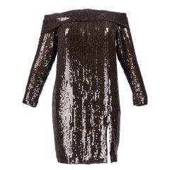1980s John Anthony Brown Sequined Off-Shoulder Evening Dress