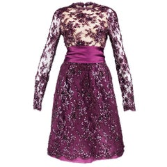 90s John Anthony Burgundy Floral Lace Cocktail Dress with Rhinestone Details