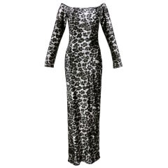80s Patrick Kelly Iconic Leopard Stretch Velvet  Body Con Dress