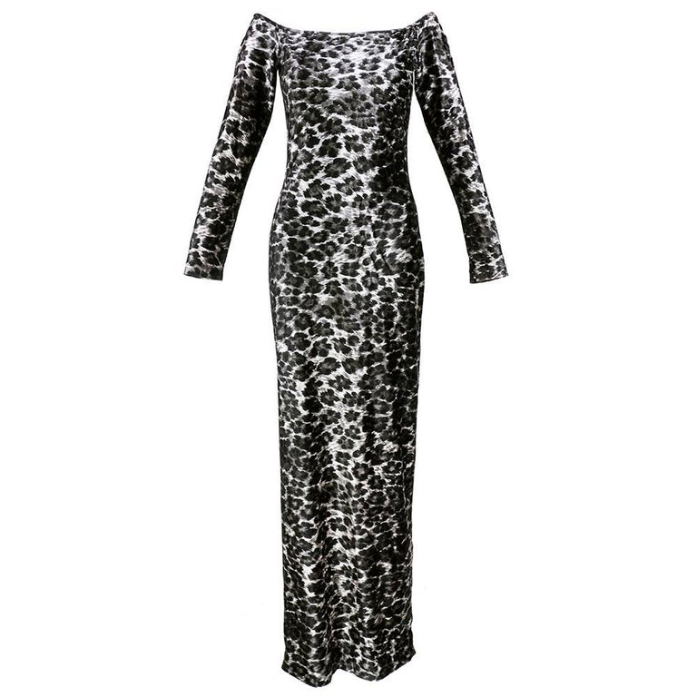 80s Patrick Kelly Iconic Leopard Stretch Velvet  Body Con Dress 1