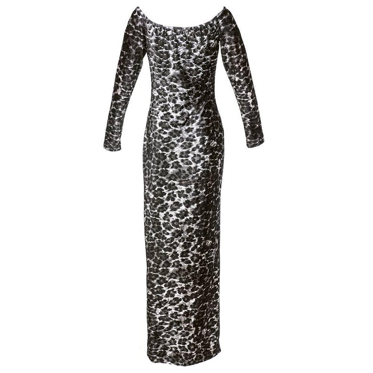 80s Patrick Kelly Iconic Leopard Stretch Velvet  Body Con Dress 3