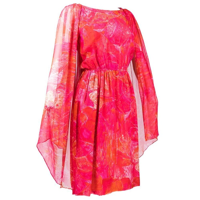 Red 60s Pierre Cardin Tropical Floral Silk Dress with Attached  Cape For Sale