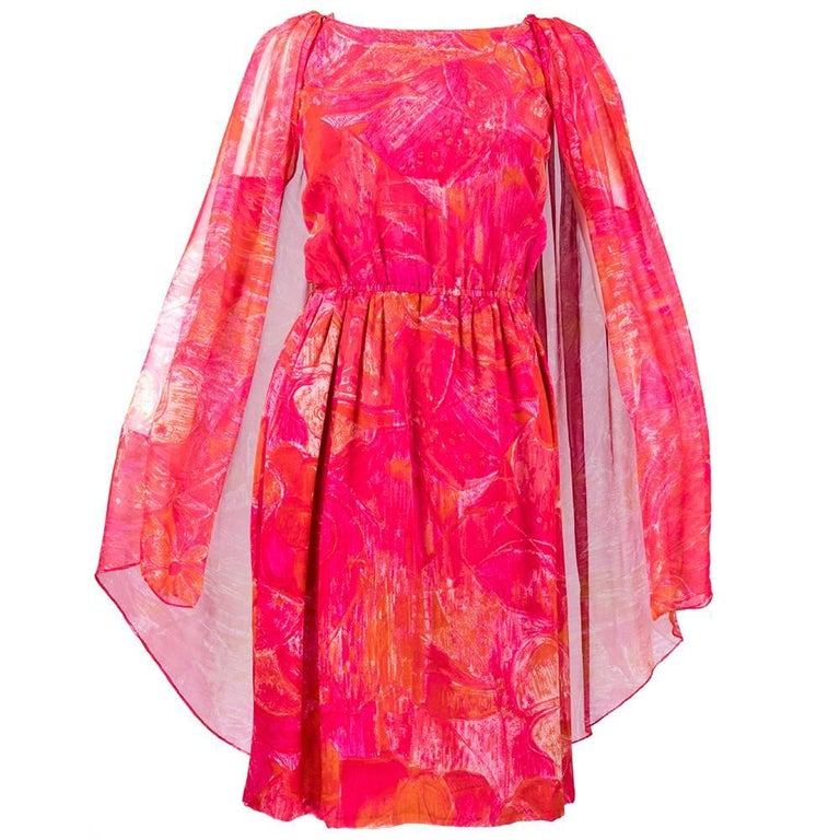 60s Pierre Cardin Tropical Floral Silk Dress with Attached  Cape For Sale