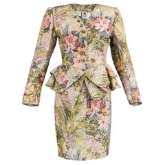 80s Ungaro Fit and Flair Floral Tapestry Ensemble
