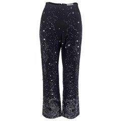 90s Dolce and Gabbana Black Knit Embellished Evening Pants