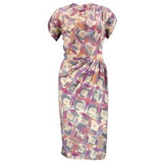 40s Madame Grès  Pastel Print Wool Challis Dress