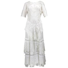 White Edwardian Style  Dress Made with Antique Textiles