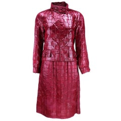 Dior New York Burgundy Textured Ensemble with Matching Boots, 1960s