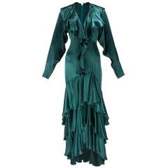 80s Norma Kamali Green Satin Gown