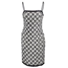 90s Bill Blass Black and White Embellished Plaid Cocktail Dress
