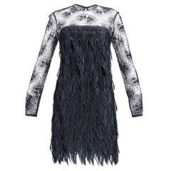 80s Galanos Black Lace Tiered Cocktail Dress