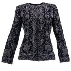 80s de la Renta (Attributed) Black Heavily Embellished Velvet Evening Jacket