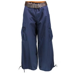 90s Gaultier Blue Cargo Pants with Detachable Leather Belt