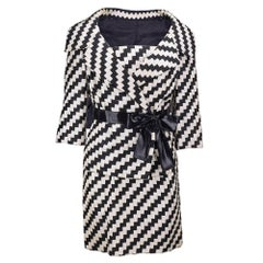 60s Roberto Capucci Black and White Woven Ribbon Ensemble