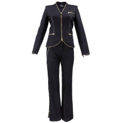 2000s Alexander McQueen Black Zipper Edged Pant Suit