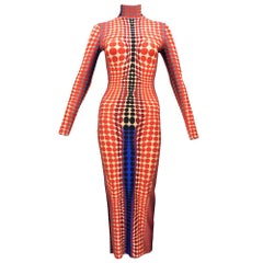 90s Jean Paul Gaultier Super Body Con Op Art Dress